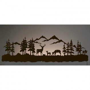 "42"" Deer Family Back Lit Wall Ar"
