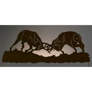 Fighting Elk Back Lit Wall Art