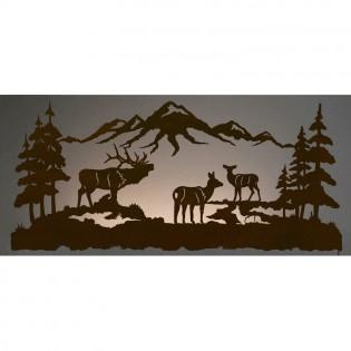 """57"""" Elk Family Back Lit Wall Art"""