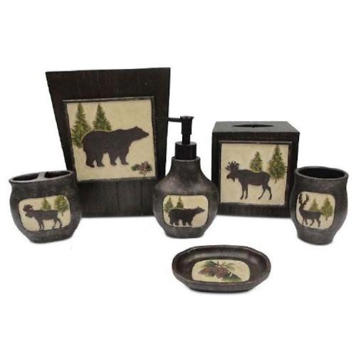 Bear Bathroom Accessories Cabin Bath Rustic Decor Moose