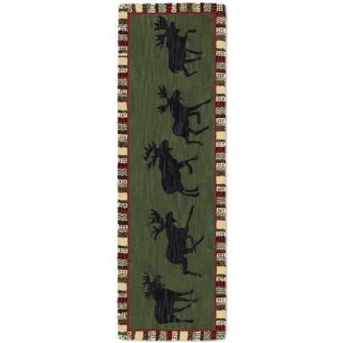 Moose Hooked Wool Runner