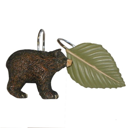 Black Bear Shower Curtain Hook Set