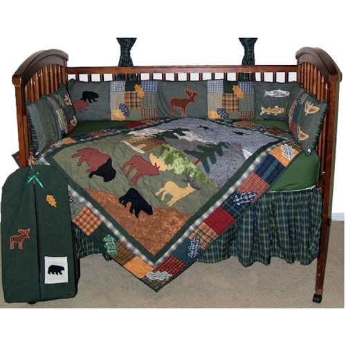 Moose 6 Piece Crib Set Northwoods Animal Walk Crib