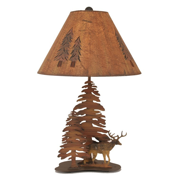 Deer In Trees Table Lamp