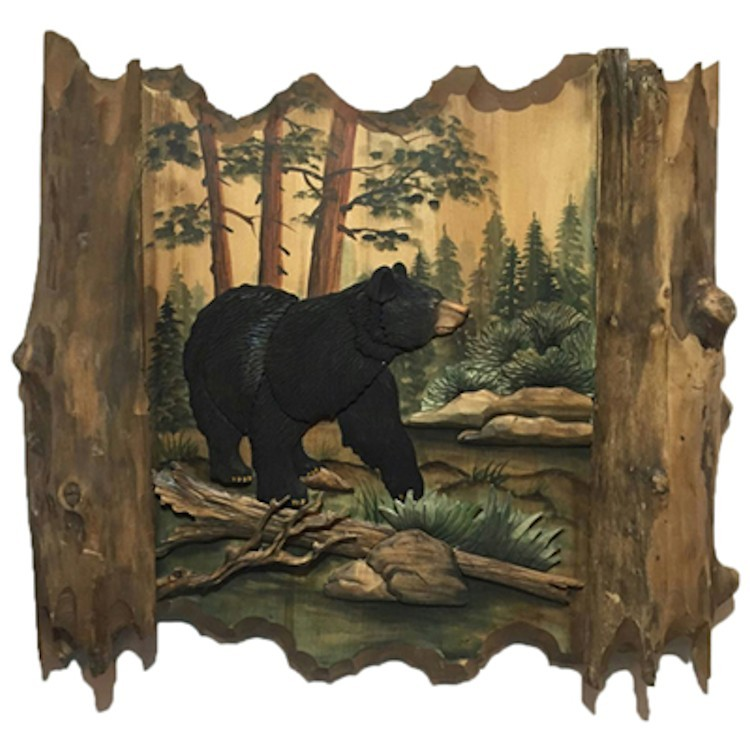 bear on the loose wood wall art