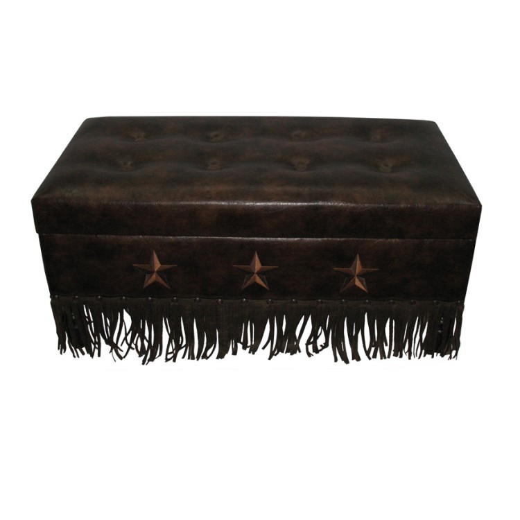 Faux Leather Star Storage Trunk Bench