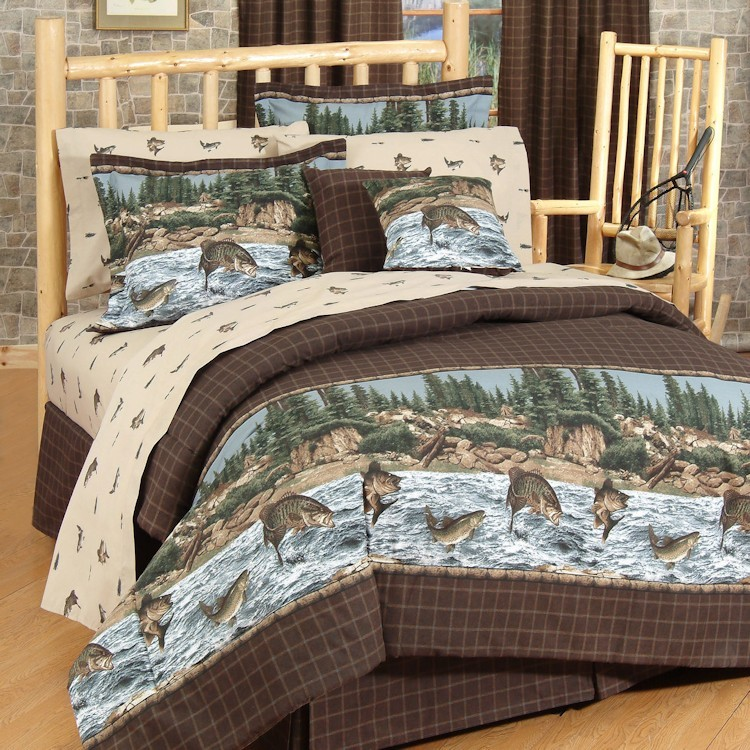 River fishing comforter set twin for Fish bedding twin