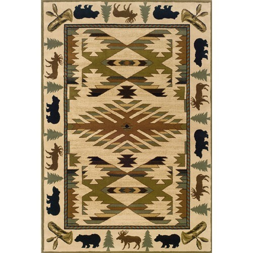 Game Area Rugs: Native Wildlife Bear And Moose Area Rugs