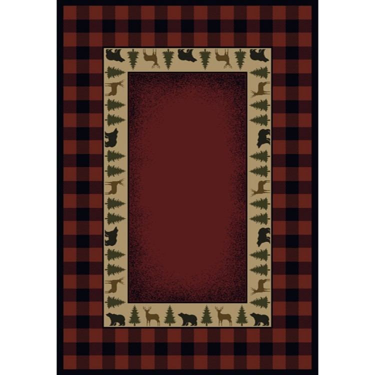 Game Area Rugs: Buffalo Red Wildlife Area Rugs