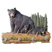 Bear Family Carved Wood Coat Rack