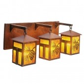 Mission Lake Triple Pine Cone Vanity Light