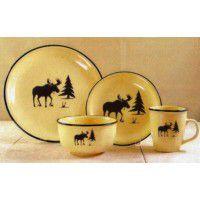 Moose Silhouette 16 Pcs Dinnerware