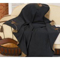 Embroidered Pinecone Throw-Black - CLEARANCE