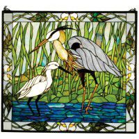 Blue Heron and Snowy Egret Stained Glass Window