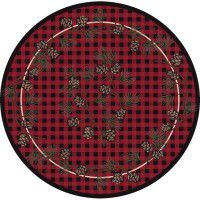 Red Wooded Pines Round Rug