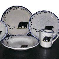 Black Bear and Tracks Lodge Dinnerware