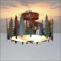 Woodcrest Deer Semi-Flush Ceiling Light