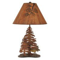 Iron Moose and Trees Table Lamp