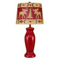 Red Jar Moose Table Lamp