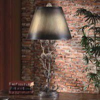 Iron Twig and Pinecone Table Lamp