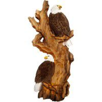 Double Eagle Carved Wood Wall Art