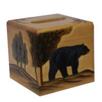 Black Bear Square Tissue Box Cover