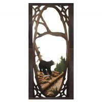 Bear Fishing Carved Screen Door
