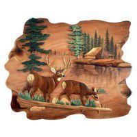 Whitetail Alert Deer Carved Wood Wall Art