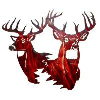 Twin Trophy Deer Metal Wall Art