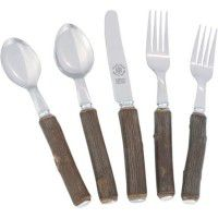Hickory Flatware with Silver Ends