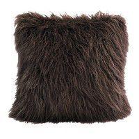 Mongolian Faux Fur Pillow-Brown