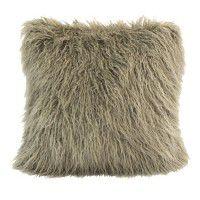 Mongolian Faux Fur Pillow-Taupe