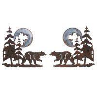 Bear and Pine Curtain Rod Brackets & Tie Backs