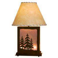 Scenic Pine Tree Table Lamp