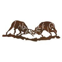 Fighting Bull Elk Metal Wall Art