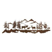 Bull Elk and Family Scene Metal Wall Art
