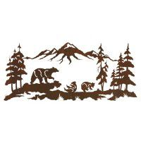 Bear Family Mountain Metal Wall Art
