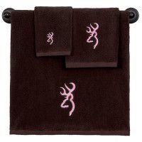 Brown with Pink Buckmark Towel Set - 3 Pcs