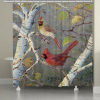 Cardinals in Birch Shower Curtain
