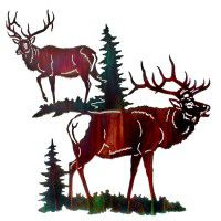 Blind Side Elk Metal Wall Art