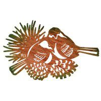 Chickadees with Pine Cones Metal Wall Art