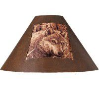 Rustic Metal Wolf Lamp Shade