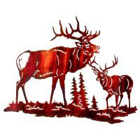 Herd Bull Challenge Elk Metal Wall Art