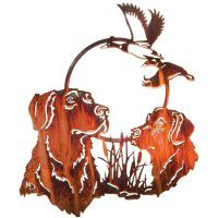 Hunting Pals Dog Metal Wall Art