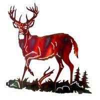 Whitetail Alert Deer Metal Wall Art
