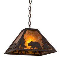 Lone Bear Pendant Light - Light On