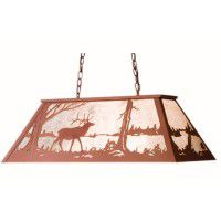 Elk At Lake Oblong Pendant Light