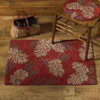 Red Pine Cone Hooked Rug
