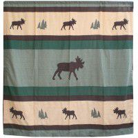 Cedar Trail Moose Shower Curtain