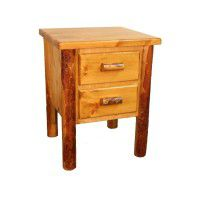 Two Drawer Log Nightstand